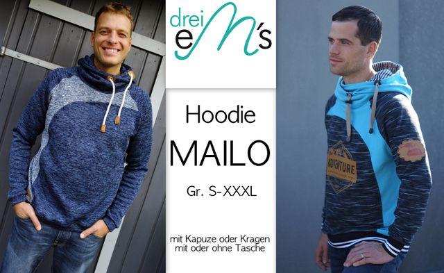 Produktfoto von drei eMs zum Nähen für Schnittmuster Hoodie Mailo