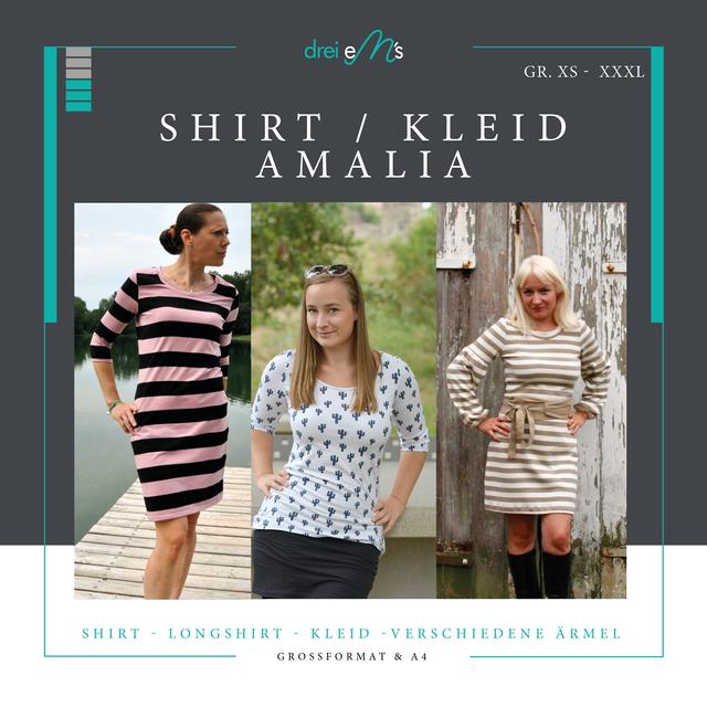 Produktfoto von drei eMs zum Nähen für Schnittmuster Shirt/Kleid Amalia