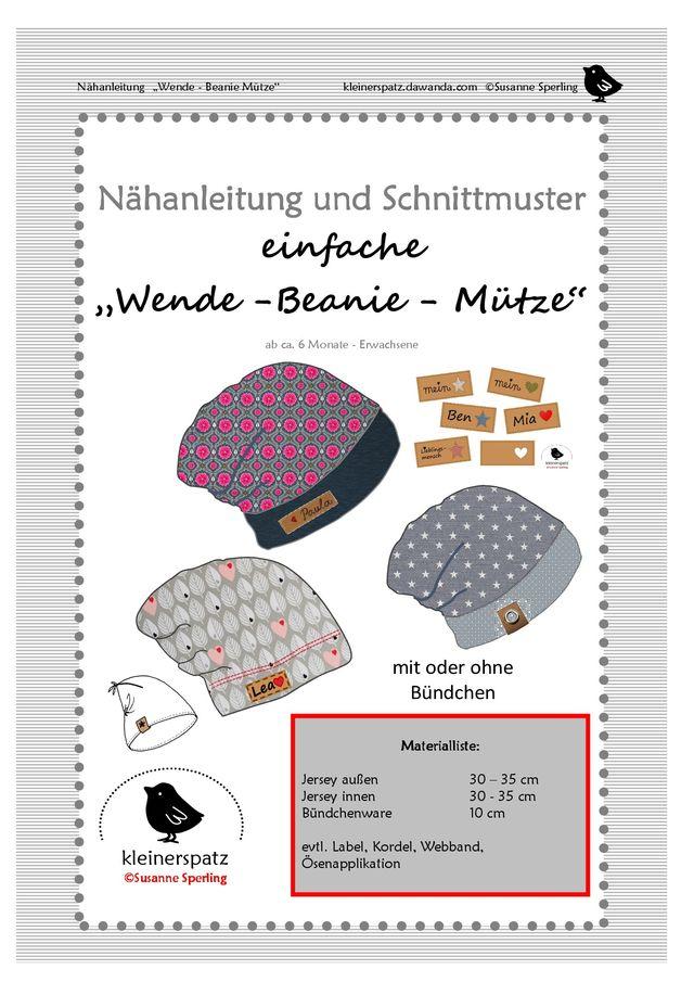 Produktfoto von kleinerspatz zum Nähen für Schnittmuster einfache Wende-Beanie-Mütze