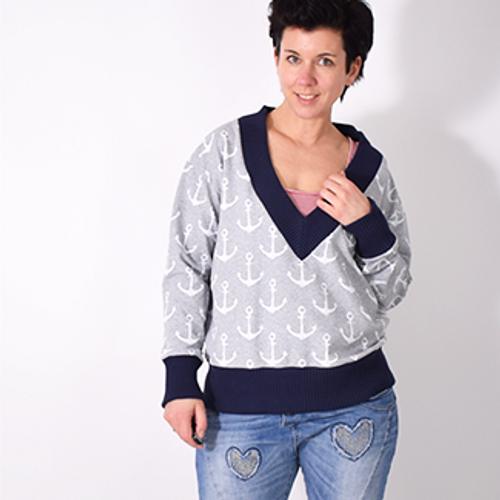 Produktfoto von Leni Pepunkt zum Nähen für Schnittmuster V-NECK.pulli
