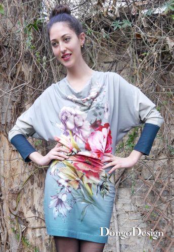 Produktfoto von DongoDesign zum Nähen für Schnittmuster Jerseykleid Claudias Blumen