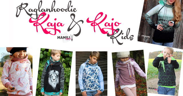 Produktfoto von Mamili1910 zum Nähen für Schnittmuster Raglanhoodie Kaja/Kajo Kids