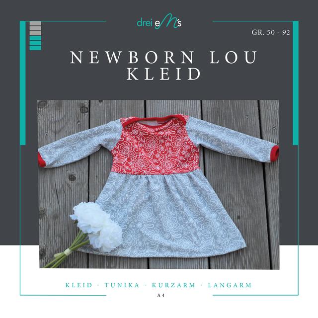 Produktfoto von drei eMs zum Nähen für Schnittmuster Newborn - Kleid oder Tunika Lou