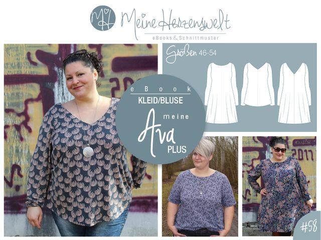Produktfoto von Meine Herzenswelt zum Nähen für Schnittmuster Bluse/Kleid Meine Ava plus