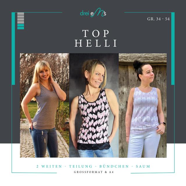 Produktfoto von drei eMs zum Nähen für Schnittmuster Top Helli