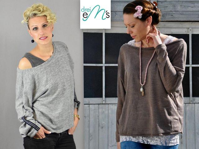 Produktfoto von drei eMs zum Nähen für Schnittmuster Pullover Belli