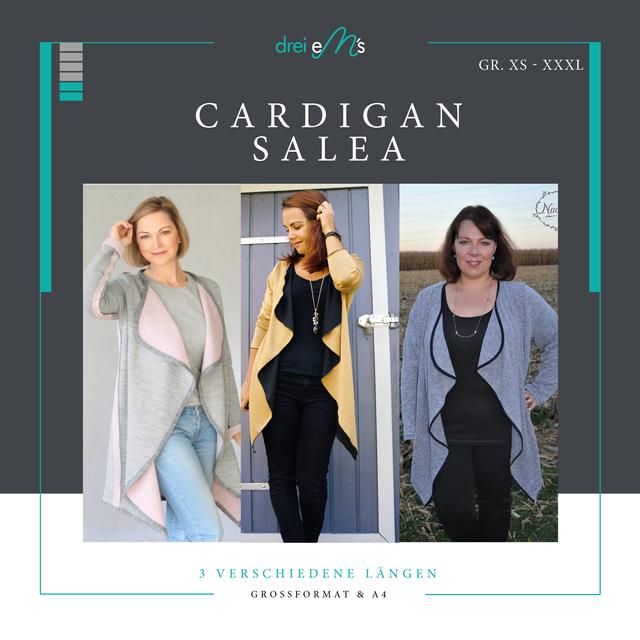 Produktfoto von drei eMs zum Nähen für Schnittmuster Cardigan Salea
