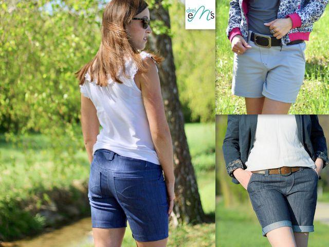 Produktfoto von drei eMs zum Nähen für Schnittmuster Kurze Hose Bari