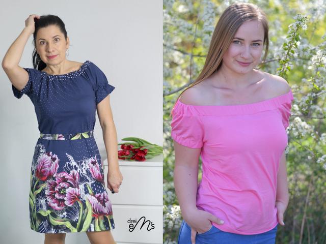 Produktfoto von drei eMs zum Nähen für Schnittmuster Bluse/Kleid Floris