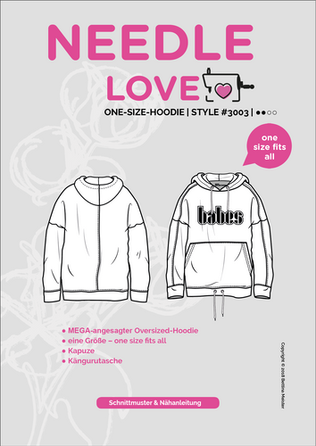 Produktfoto von {NEEDLE LOVE} zum Nähen für Schnittmuster One-Size-Hoodie