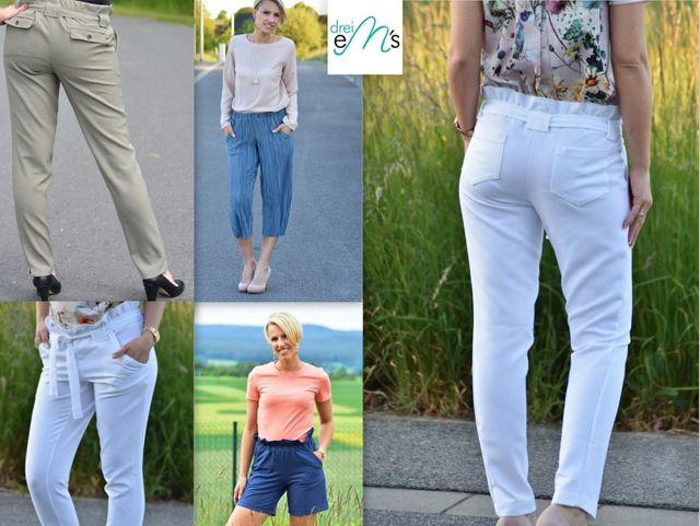 Produktfoto von drei eMs zum Nähen für Schnittmuster Lange Hose/Culotte/Shorts Elie