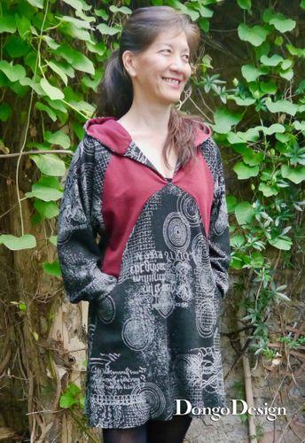 Produktfoto von DongoDesign zum Nähen für Schnittmuster Jersey-Hoodiekleid Lisia