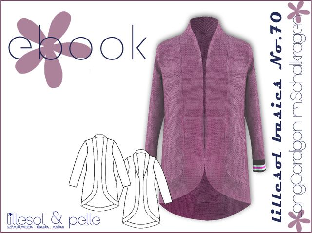Produktfoto von Lillesol & Pelle zum Nähen für Schnittmuster Lillesol basics No. 70 Longcardigan mit Schalkragen