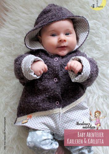 Produktfoto von Abenteuermädchen zum Nähen für Schnittmuster Baby-Abenteuer-Jacke Karlchen & Karlotta
