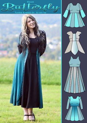 Produktfoto von Rosalieb & Wildblau zum Nähen für Schnittmuster Tunika & Kleid Butterfly
