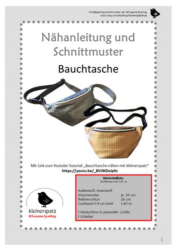 Produktfoto von kleinerspatz zum Nähen für Schnittmuster Gürteltasche/Bauchtasche