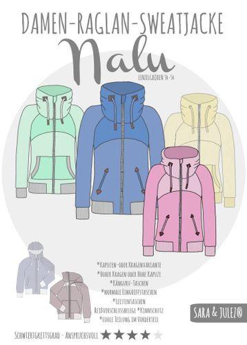 Produktfoto von Sara & Julez zum Nähen für Schnittmuster Damen-Raglan-Sweatjacke Nalu