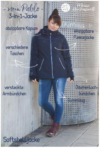 Produktfoto von Meine Herzenswelt zum Nähen für Schnittmuster Softshelljacke Damen - Mein Pablo