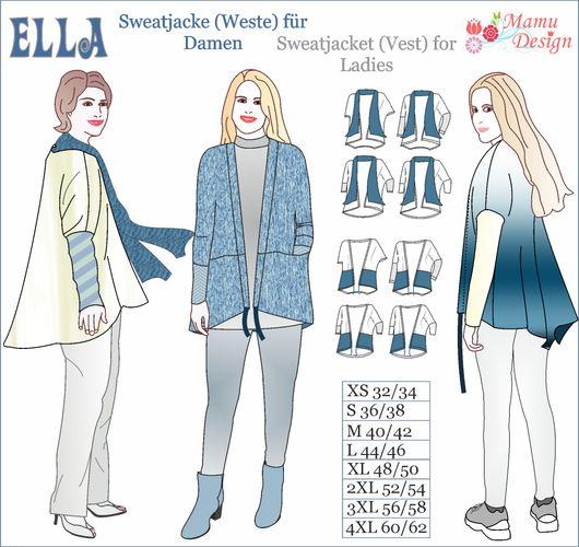 Produktfoto von Mamu Design zum Nähen für Schnittmuster Sweatjacke Ella