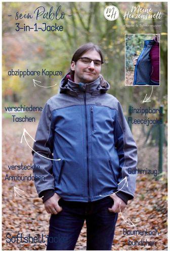 Produktfoto von Meine Herzenswelt zum Nähen für Schnittmuster Softshelljacke Herren - Sein Pablo