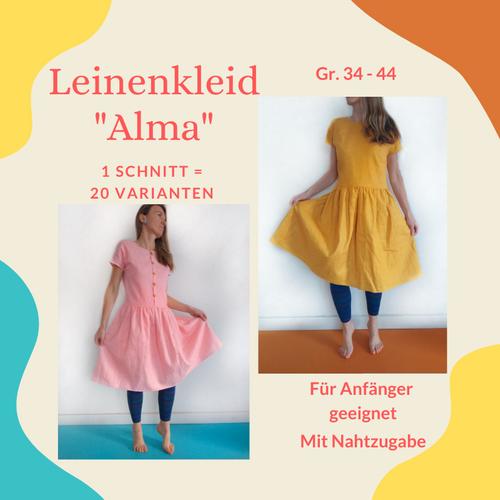 Produktfoto von Henriette Herzblut zum Nähen für Schnittmuster Leinenkleid Alma
