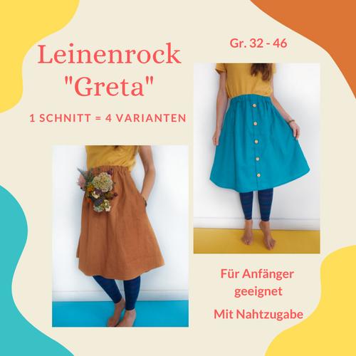 Produktfoto von Henriette Herzblut zum Nähen für Schnittmuster Leinenrock Greta