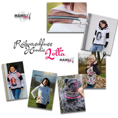 Produktfoto von Mamili1910 zum Nähen für Schnittmuster Raglanhoodie Lotta