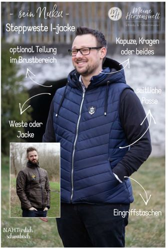 Produktfoto von Meine Herzenswelt zum Nähen für Schnittmuster Steppweste/Jacke Herren - Sein Nuka