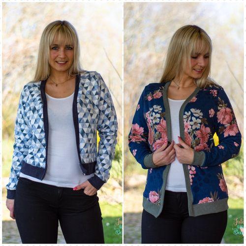 Produktfoto von drei eMs zum Nähen für Schnittmuster Cardigan Varenna