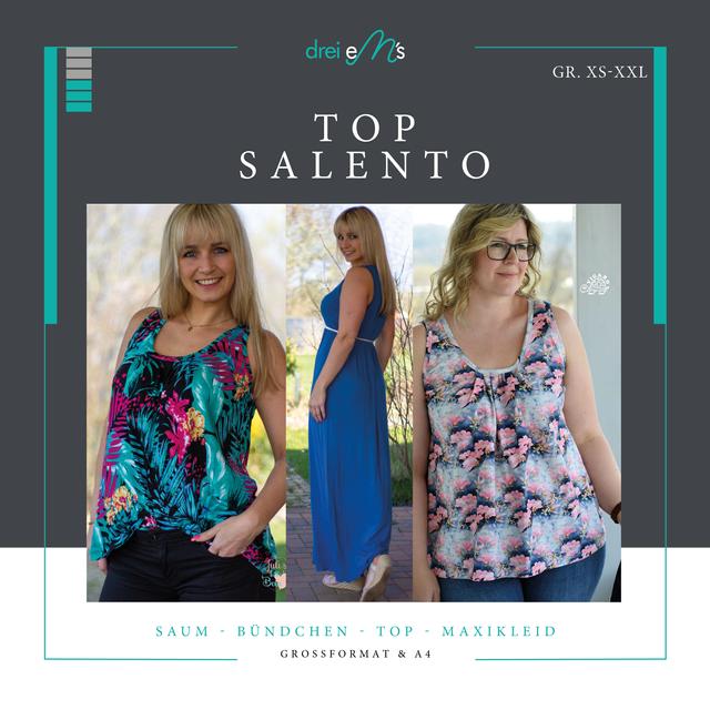 Produktfoto von drei eMs zum Nähen für Schnittmuster Top Salento