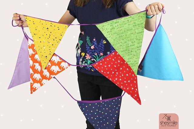 Produktfoto von shesmile zum Nähen für Schnittmuster Wimpelkette Regenbogen