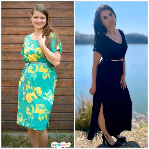 Produktfoto von drei eMs zum Nähen für Schnittmuster Kleid Ravello