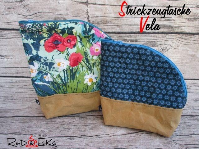 Produktfoto von RUND und ECKIG zum Nähen für Schnittmuster Strickzeugtasche Vela