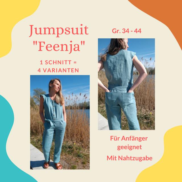Produktfoto von Henriette Herzblut zum Nähen für Schnittmuster Jumpsuit Feenja