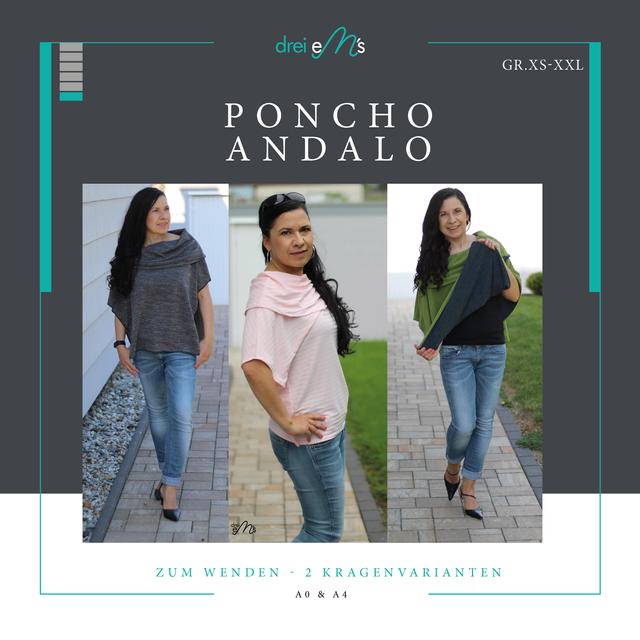 Produktfoto von drei eMs zum Nähen für Schnittmuster Poncho Andalo