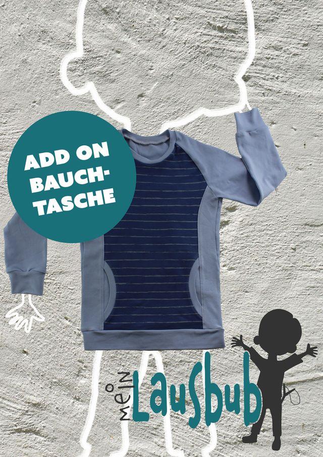 Produktfoto von Mein Lausbub Schnittmuster zum Nähen für Schnittmuster Add on Bauchtasche zu Bela Raglanshirt