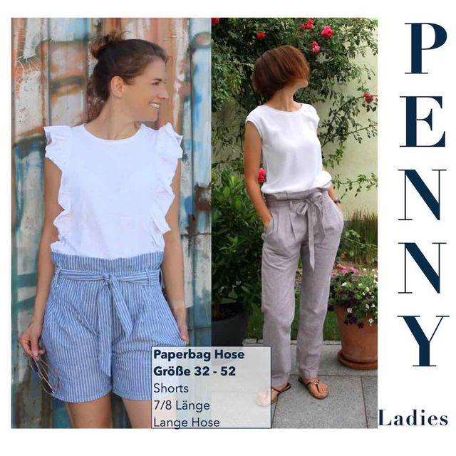 Produktfoto von Sara & Julez zum Nähen für Schnittmuster Paperbag Hose Penny Ladies