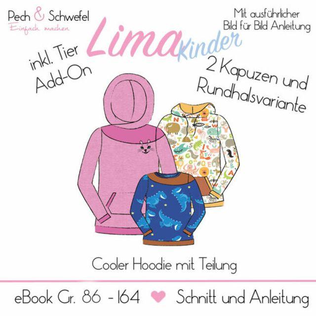 Produktfoto von Pech & Schwefel zum Nähen für Schnittmuster Hoodie Lima für Kinder