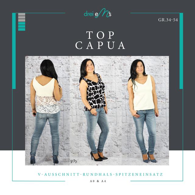 Produktfoto von drei eMs zum Nähen für Schnittmuster Top Capua