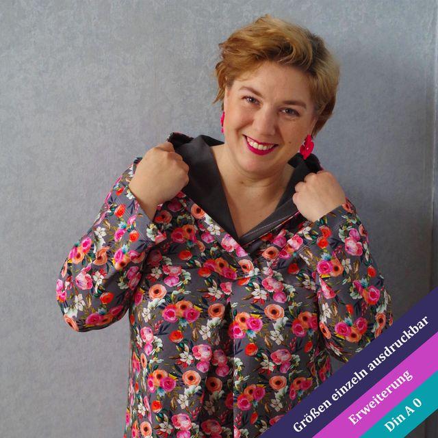 Produktfoto von Unendlich schön - Design Anita Lüchtefeld zum Nähen für Schnittmuster Erweiterung Petunia Kapuze oder Schalkragen