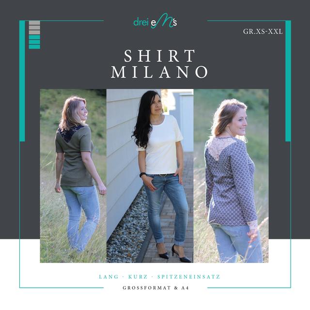 Produktfoto von drei eMs zum Nähen für Schnittmuster Shirt Milano