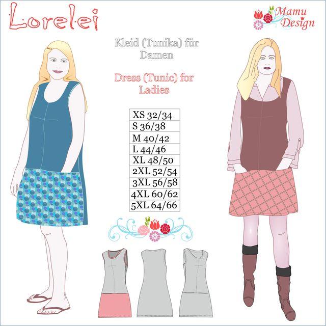 Produktfoto von Mamu Design zum Nähen für Schnittmuster Kleid/Tunika Lorelei