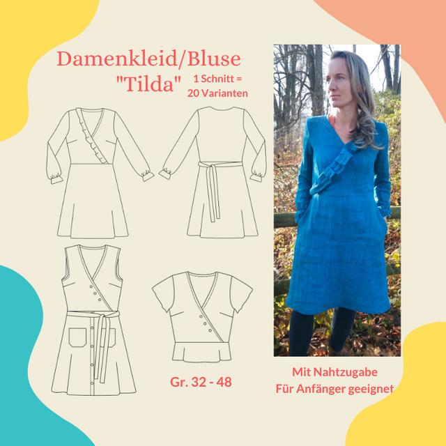 Produktfoto von Henriette Herzblut zum Nähen für Schnittmuster Kleid/Bluse Tilda