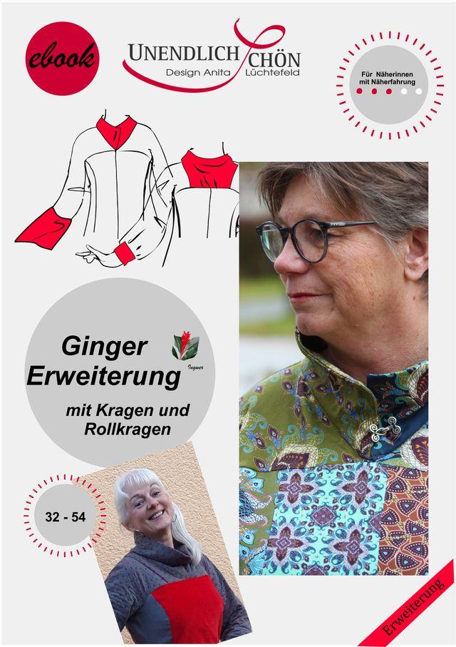 Produktfoto von Unendlich schön - Design Anita Lüchtefeld zum Nähen für Schnittmuster Ginger - Kragenerweiterung