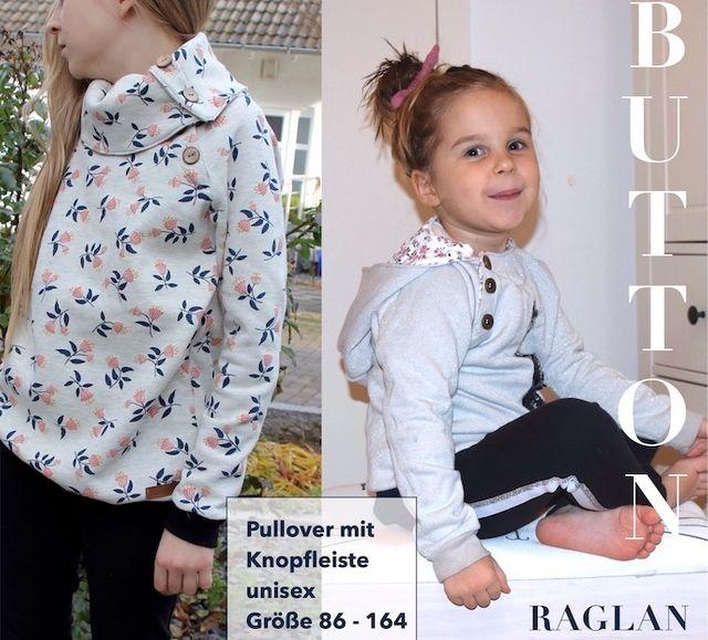 Produktfoto von Sara & Julez zum Nähen für Schnittmuster Button Raglan Kids