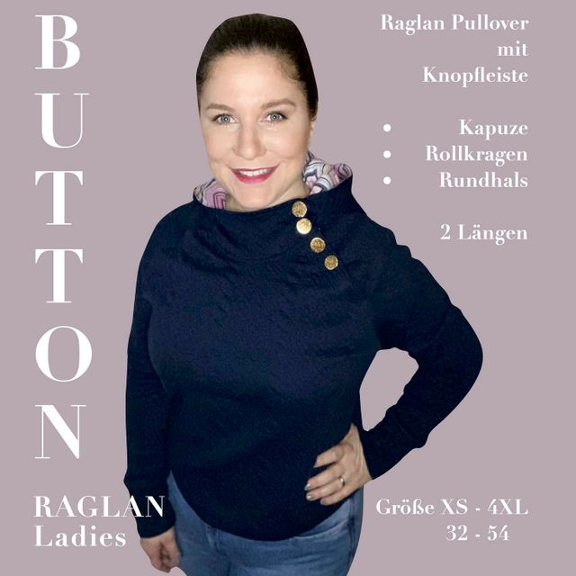 Produktfoto von Sara & Julez zum Nähen für Schnittmuster Button Raglan Ladies