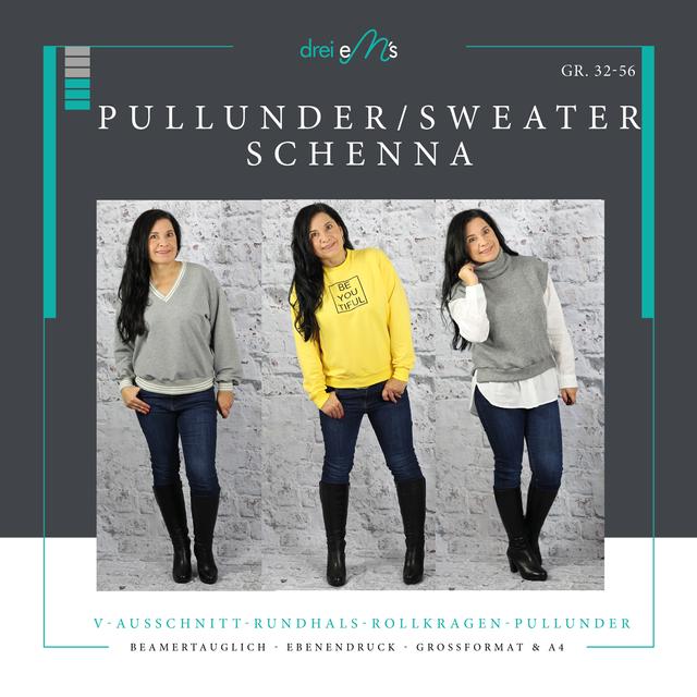 Produktfoto von drei eMs zum Nähen für Schnittmuster Sweater/Pullunder Schenna