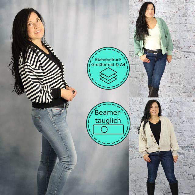 Produktfoto von drei eMs zum Nähen für Schnittmuster Oversize-Cardigan Obereggen