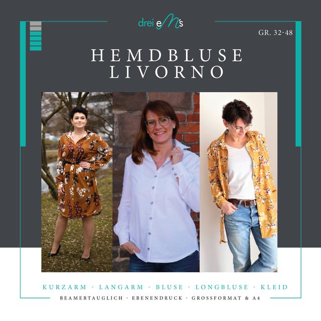 Produktfoto von drei eMs zum Nähen für Schnittmuster Hemdbluse Livorno