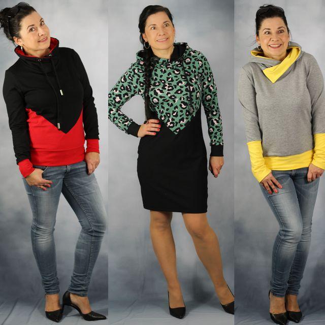 Produktfoto von drei eMs zum Nähen für Schnittmuster Hoodiekleid Udine